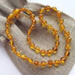 Ogrlica iz jantarja za otroke Honey amber