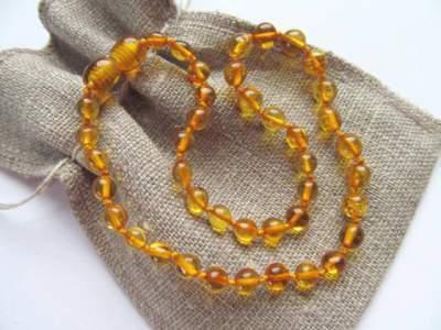 Ogrlica iz jantarja za otroke Honey amber-0
