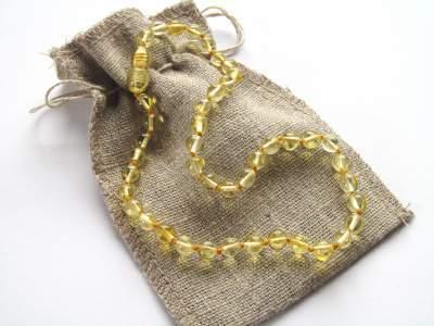 Ogrlica iz jantarja za otroke Lemon -0