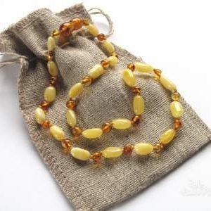 Ogrlica iz jantarja za otroke Sunny oval