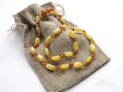 Ogrlica iz jantarja za otroke Sunny oval-0