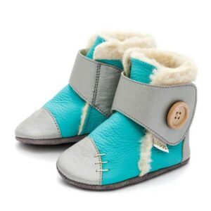Liliputi usnjeni škorenjčki – Snowflake Turquoise