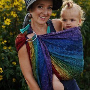 Little Frog sling z obroči – Rainbow Harmony (žakard)